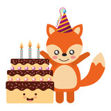 cute fox and cake kawaii birthday - 227547371