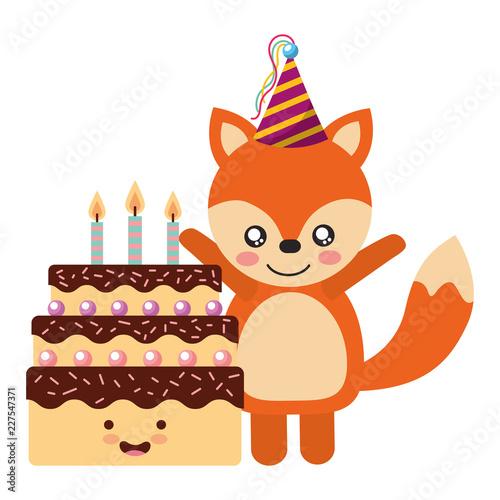 cute fox and cake kawaii birthday