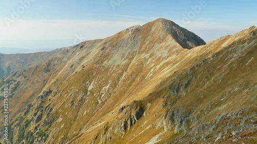 View over Pachola peak and Banikov peak in late summer, early fall on a sunny day. (Western Tatra, Slovakia)