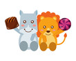 cute lion and hippo chocolate sweet candies