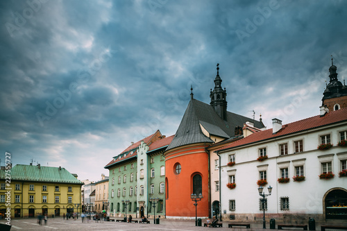 fototapeta na ścianę Krakow, Poland. Church Of St. Barbara On Small Market Square In