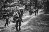 Re-enactors Dressed As German Infantry Soldiers In World War II  - 227555933