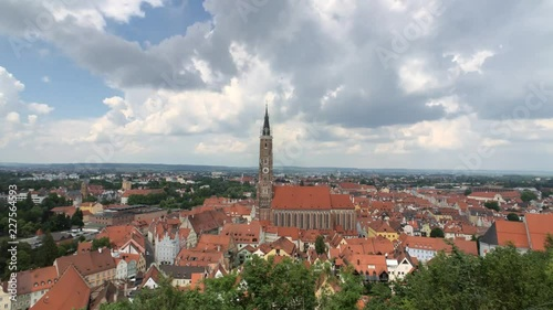 Fridge magnet Time lapse from the city Landshut and the St. Martin's Church in Germany
