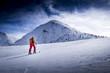 Leinwandbild Motiv Skitourengeherin in den Alpen