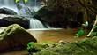samrongkiat waterfall in nature, khunhan district, sisaket province, Thailand - 227577191