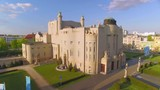 Aerial footage of Staatstheater in Cottbus with spectacular view. Art Nouveau architecture - 227577329
