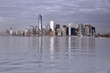 View of downtown New York in winter from the sea