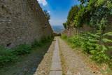 Downhill road in Cortona, Italy