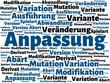 Das Wort - Anpassung - abgebildet in einer Wortwolke mit zusammenhängenden Wörtern - 227600750