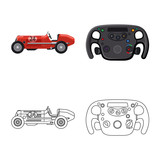 Isolated object of car and rally sign. Set of car and race vector icon for stock.