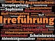 Das Wort - Irreführung - abgebildet in einer Wortwolke mit zusammenhängenden Wörtern - 227604530