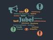Das Wort - Jubel - abgebildet in einer Wortwolke mit zusammenhängenden Wörtern - 227604575