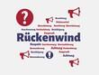 Das Wort - Rückenwind - abgebildet in einer Wortwolke mit zusammenhängenden Wörtern - 227605596