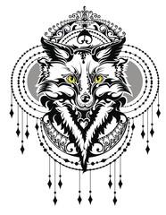 Fox tattoo. Tattoo, portrait of a wild fox