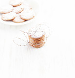 Gingerbread cookies. Christmas time. White background. Copy space.   - 227614162