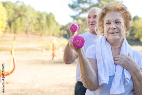 Foto Murales older people doing sport, active retirement
