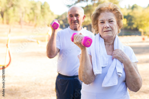 Poster older people doing sport, active retirement