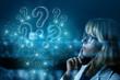 Leinwandbild Motiv Businesswoman thinking over questions arising .