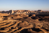 Tramonto nel deserto all'interno del Maktesh Ramon