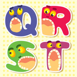 Set alphabets cute of simple color illustrations