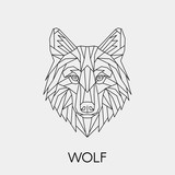 Geometric wolf. Polygonal linear animal head. Vector illustration.