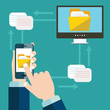 File transfer. Hand holding smartphone with folder on screen and documents transferred to computer. Copy files, exchange, file sharing concept. Flat vector