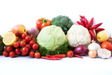 Assorted raw organic vegetables and fruits. - 227635798