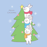 Cartoon cute Christmas rabbits decorating Christmas tree vector.