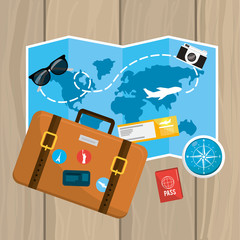 global map with travel briefcase and ticket