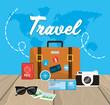 travel briefcase with passport destination and ticket