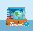 travel briefcase with global place destination