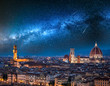 Quadro Milky way and falling stars over Florence at night, Italy