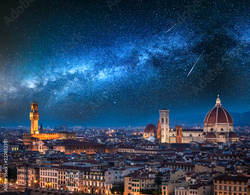 Leinwanddruck Bild Milky way and falling stars over Florence at night, Italy