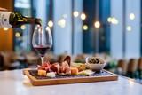 waiter serving red wine in a restaurant - 227657509