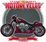 Motorcycle of a certain type, on a symbolic background. Motorcycle text and background are located on separate layers.