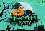 Halloween graffiti banner design with pumpkins and raven. Creative lettering with raven, angry pumpkins, graves, tree and full moon on green background. . Can be used for posters and banners.