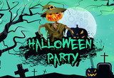 Halloween party  invitation with angry straw man. Creative lettering in graffiti style with straw man, pumpkin, graves, trees and full moon. Can be used for invitations, postcards.
