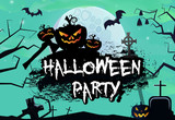 Halloween party banner design graffiti style with graves. Creative lettering with pumpkins, graves, cemetery, trees and full moon. Can be used for banners. posters, leaflets.
