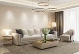 White eclectic luxury living room - 227667752