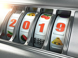 Happy New Year 2019 in casino. Slot machine with jackpot number 2019. - 227668752