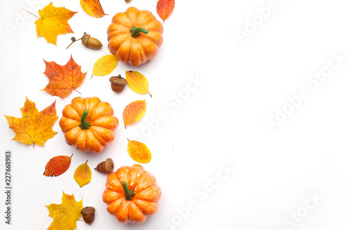 Autumn composition. Pumpkins, dried leaves on white background. Halloween concept. Flat lay, top view, copy space - 227668983