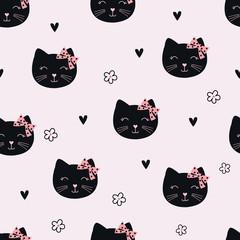 Cute black cats seamless pattern © annata78