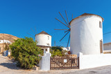 Picturesque windmills in Ano Chora on the island of Serifos. Greece - 227695599