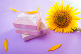Two gift boxes with sunflowers. Presents with jewellery