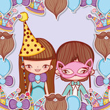 boy and girl with party costume decoration