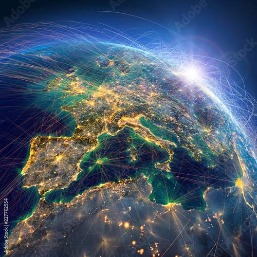Detailed air routes on Earth. Europe. 3D rendering - 227702554