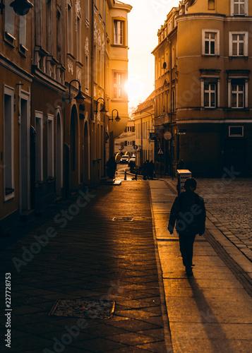 Sunset Opole boy silhouette