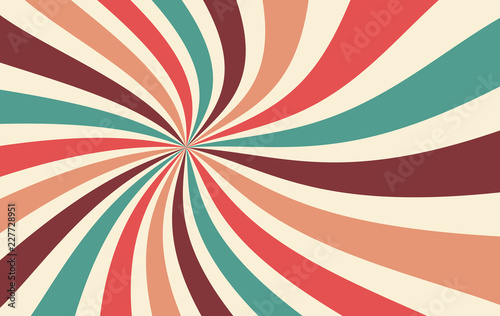 Sticker retro starburst or sunburst background vector pattern with a vintage color palette of red pink peach teal blue brown and beige in a spiral or swirled radial striped design