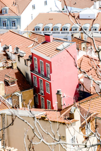 Sticker roofs of old town, in Lisbon Capital City of Portugal