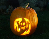 Home made pumpkin artworks for Halloween with ghost - 227731337